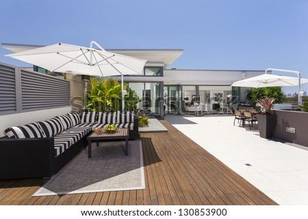 Luxurious penthouse balcony #130853900