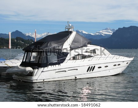 Luxurious powerboat in the port of Lucerne, Switzerland