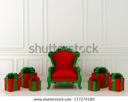 Luxurious red chair Santa Claus and gifts around