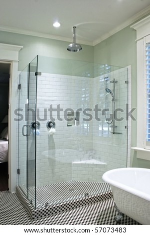 Bathroom Tile Patterns on Luxurious Shower In Black And White Tile With Glass Walls Stock Photo