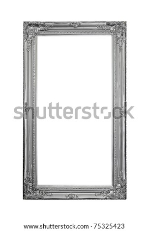 Luxurious silver frame isolated included clipping path