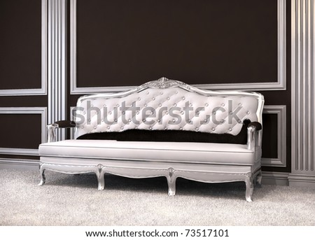 Luxurious sofa in classical interior.