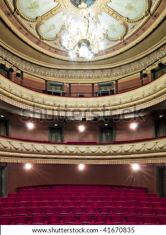 Luxurious theater hall in classic baroque style.