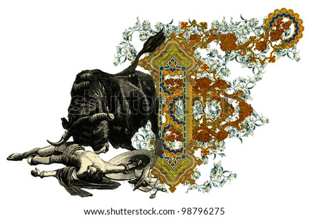"Luxurious Victorian initials letter F, after a engraving ""A bull fight"" edited by The Graphic - London, circa 1878."