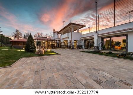 Luxurious villa exterior and magic sky