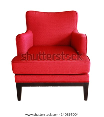 luxurious wood frame armchair with red fabric seat isolated with work path