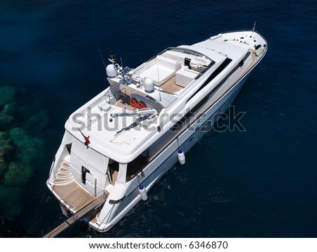 luxurious yacht moored