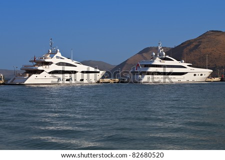Luxurious yachts anchored at Argostoli of Kefalonia island in Greece