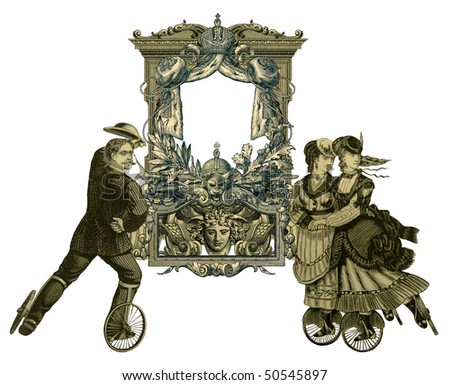 Luxuriously color illustrated old victorian frame with two woman and man on roller skates.