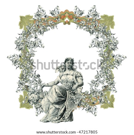 Luxuriously color illustrated old victorian frame with woman. - stock photo