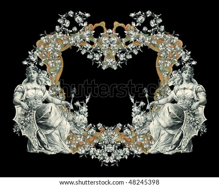 Luxuriously color illustrated old victorian frame with woman on a black background.