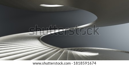 Luxury abstract architectural minimalistic background. Contemporary showroom. Gold metal spiral staircase modern staircase upward.Empty gallery. Backlight. 3D illustration and rendering.