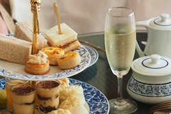 luxury afternoon tea with a sparkling wine
