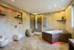 Luxury and modern bathroom interior with wooden elements