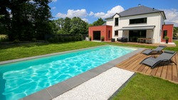 luxury and modern property with a swimming pool