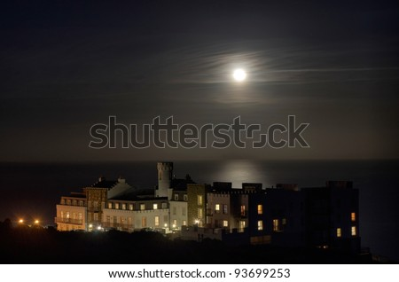 Luxury Apartment building with Full Moon on Douglas Head - Isle of Man