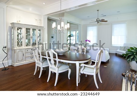 luxury apartment diningroom and livingroom - stock photo