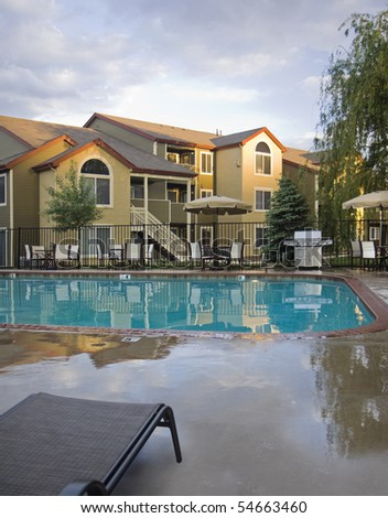 Luxury Apartment Pool at Dusk