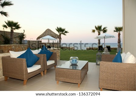 luxury apartment with garden and beautiful sea view