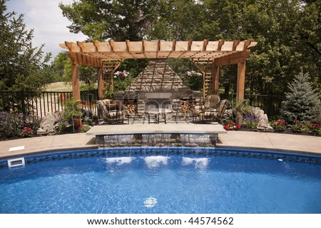 Luxury backyard with a pool