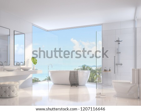 Luxury bathroom 3d render,Decorate with white sanitary ware ,glass wall shower,double sink and round bathtub,There are large window overlooking to sea view.