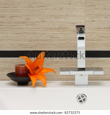 Luxury Bathroom Interior Background - Sink, Faucet and Ceramic Tile