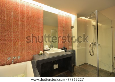 Luxury bathroom interior design for modern life style. - stock photo