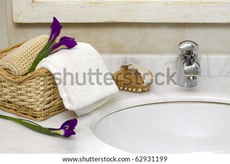 luxury bathroom interior with sink and faucet