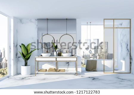 Luxury bathroom interior with white marble walls and floor, double sink standing on white countertop and white bathtub next to loft window. 3d rendering