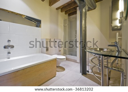 Contemporary Elements luxury bathroom with contemporary elements in warehouse conversion