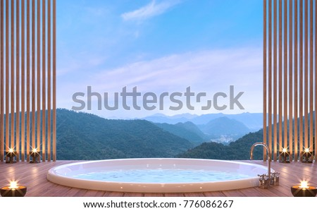 Luxury bathroom with mountain view 3d rendering image. There are wood floor decorate wall with wood lattice. There are glass railing overlooking the surrounding nature and mountain