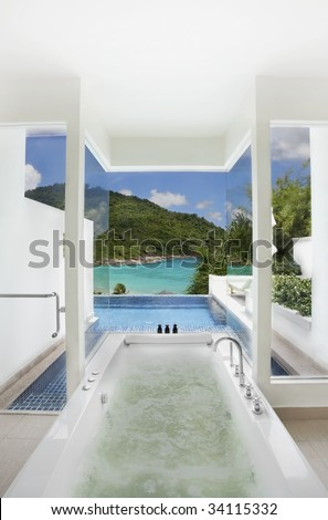 luxury bathroom with swimming pool and sea view