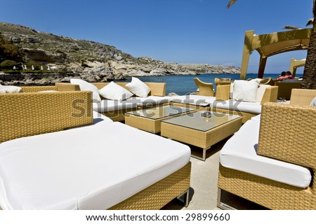 Luxury beach bar at Rhodes island in Greece