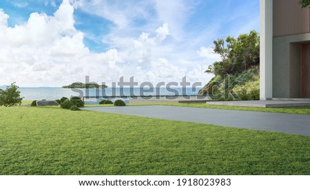 Luxury beach house with sea view swimming pool and big garden in modern design. Empty green grass lawn at vacation home. 3d illustration of contemporary holiday villa exterior.