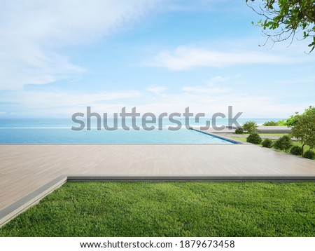 Luxury beach house with sea view swimming pool and terrace in modern design. Wooden floor deck at vacation home or hotel. 3d illustration of contemporary holiday villa exterior.