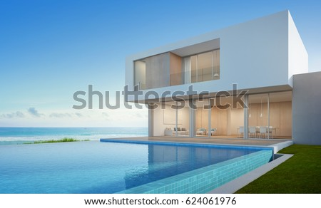 Luxury beach house with sea view swimming pool in modern design, Vacation home for big family - 3d rendering