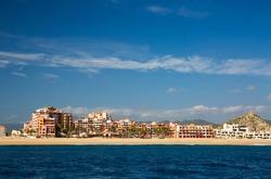 Luxury beachfront accommodations line the beaches at Cabo San Lucas, Baja California Sur, Mexico