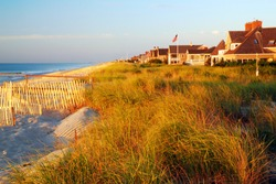 Luxury beachfront homes are built up to the dunes along the Jersey Shore