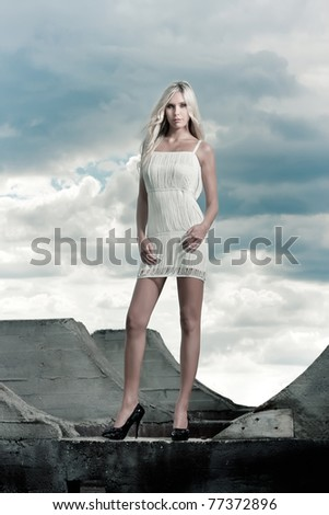 luxury beautiful blond girl outdoor