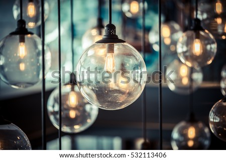 Luxury beautiful retro edison light lamp decor - Shutterstock ID 532113406
