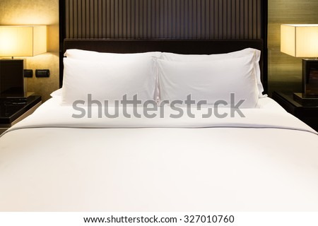 Luxury bed and pillow with light #327010760