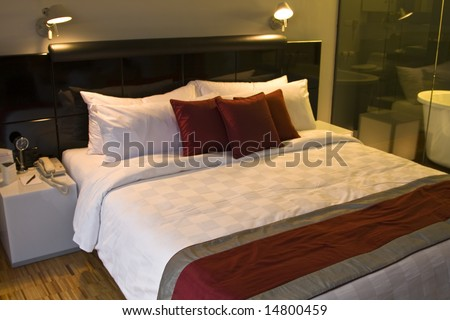 Luxury bedroom in a five star hotel an night time