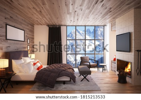 Luxury bedroom in the Interior of the Expensive Hotel overlooking the mountain scenery. 3D Render Stockfoto ©