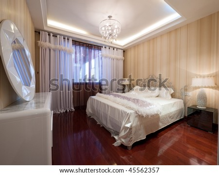 Luxury Bedroom Interior With Beautiful Mirror Stock Pho