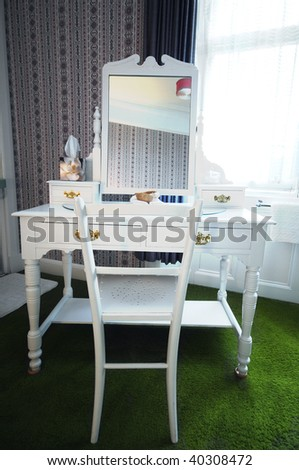 Luxury bedroom with makeup table