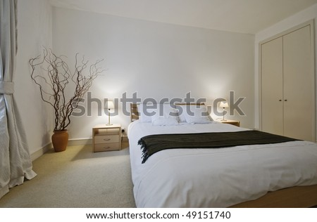 luxury bedroom with modern furniture and built-in wardrobe