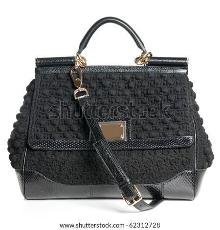 luxury black female bag isolated on white