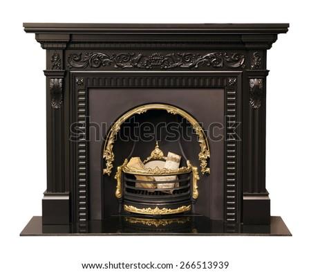 luxury black fireplace isolated ...
