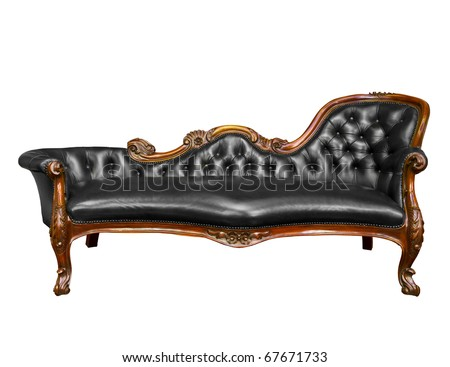 luxury black leather armchair isolated