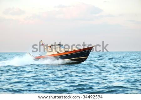 Luxury black motor yacht